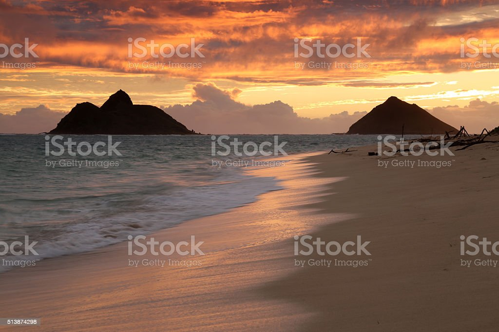 Hawaii Beach Sunrise stock photo
