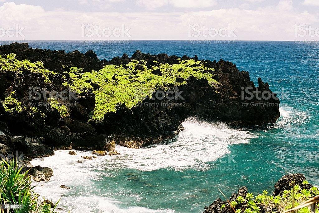 Hawaii black rock point stock photo