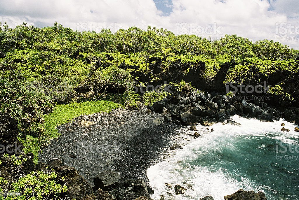 Hawaii black sand beach royalty-free stock photo