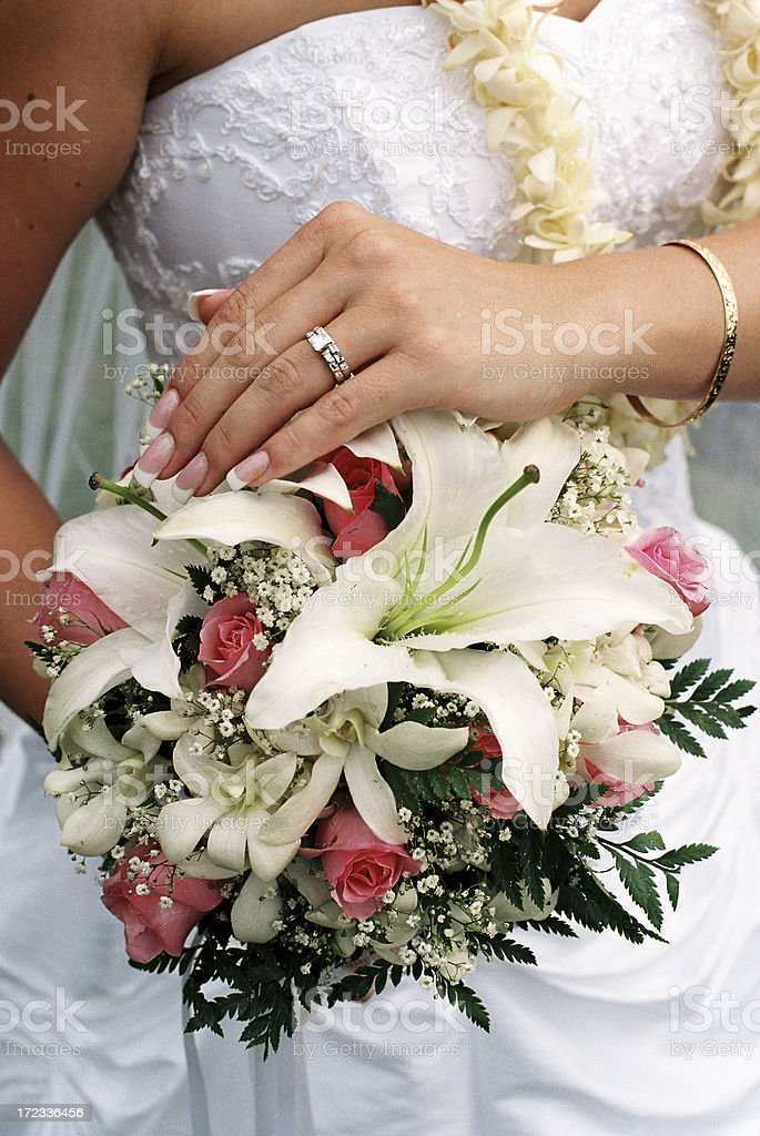 Hawaii Brides ring and bouquet royalty-free stock photo