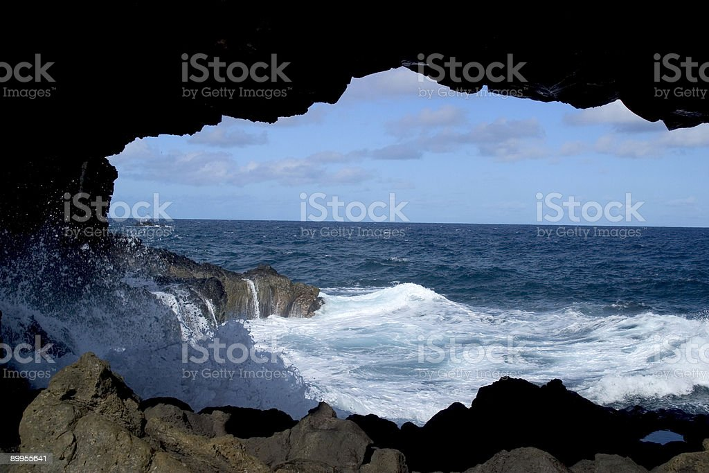 Hawaii Cave Surf royalty-free stock photo