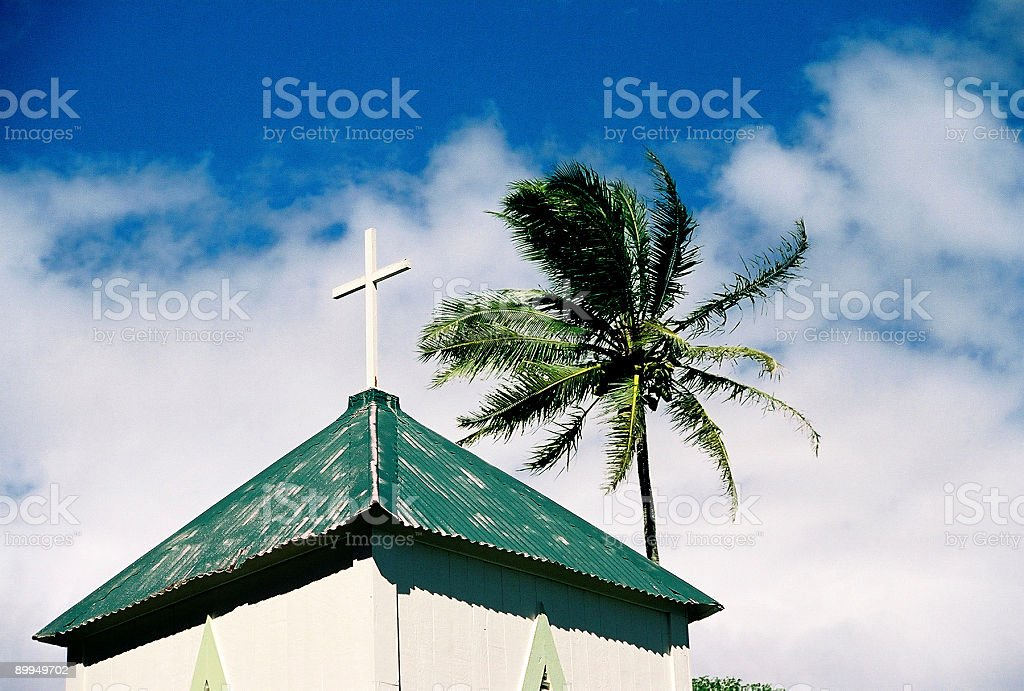 Hawaii church steeple and palm tree stock photo
