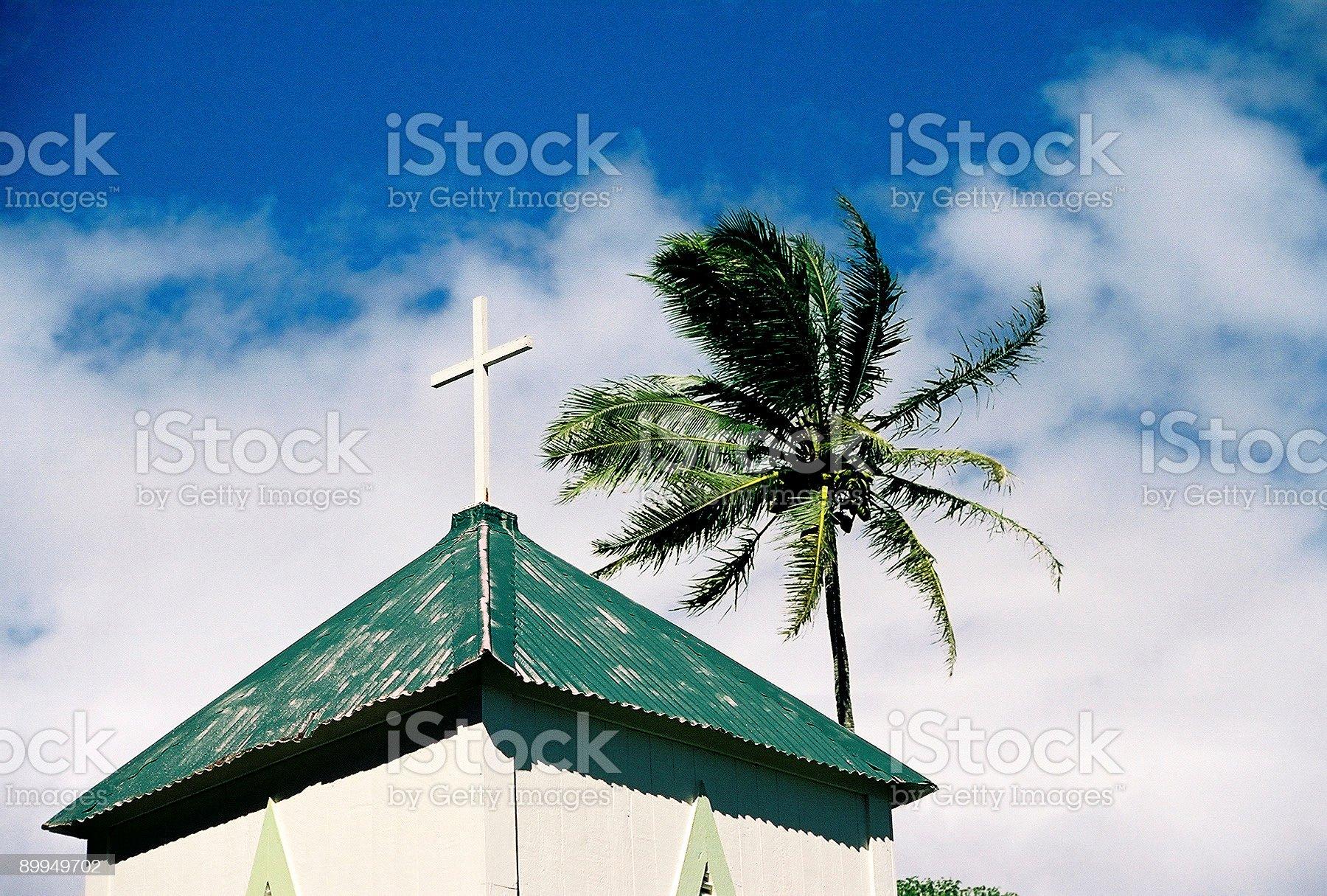 Hawaii church steeple and palm tree royalty-free stock photo