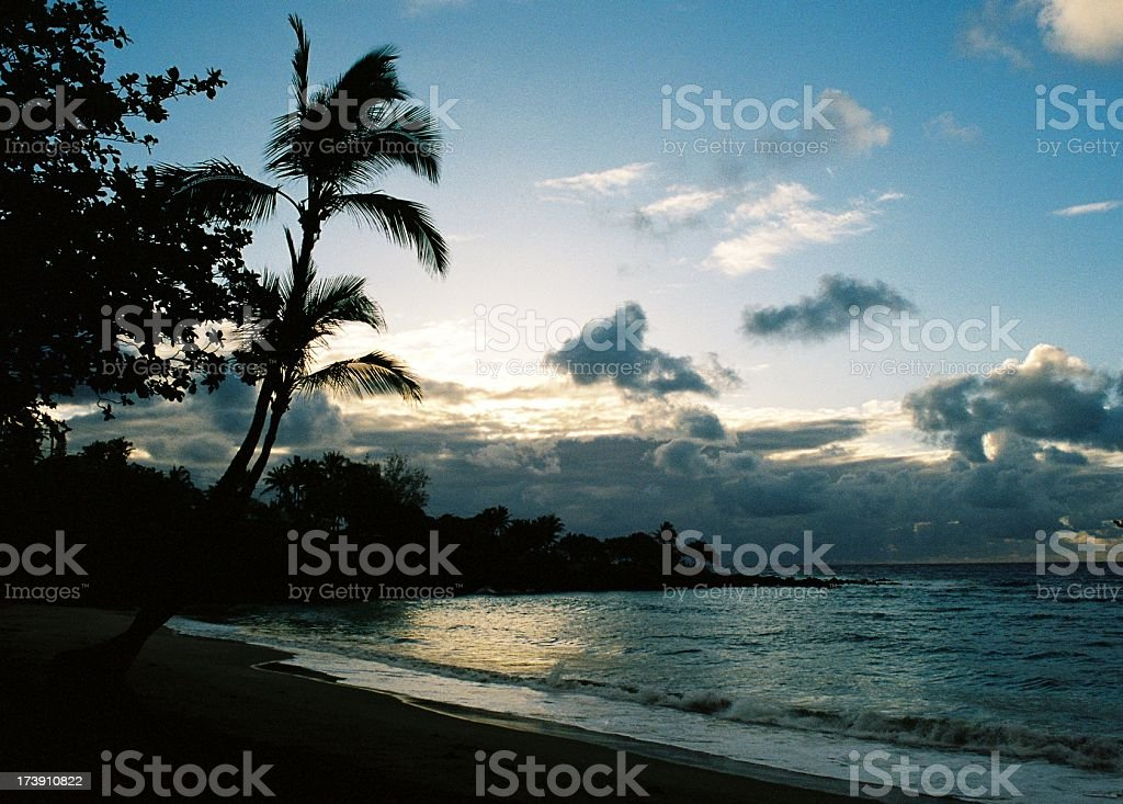 Hawaii coastline sunset royalty-free stock photo