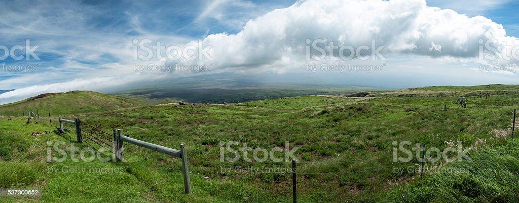 Hawaii Countryside Fence stock photo