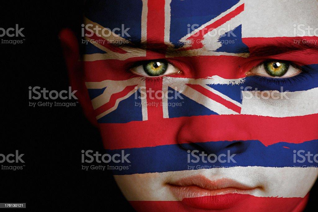 Hawaii flag boy stock photo