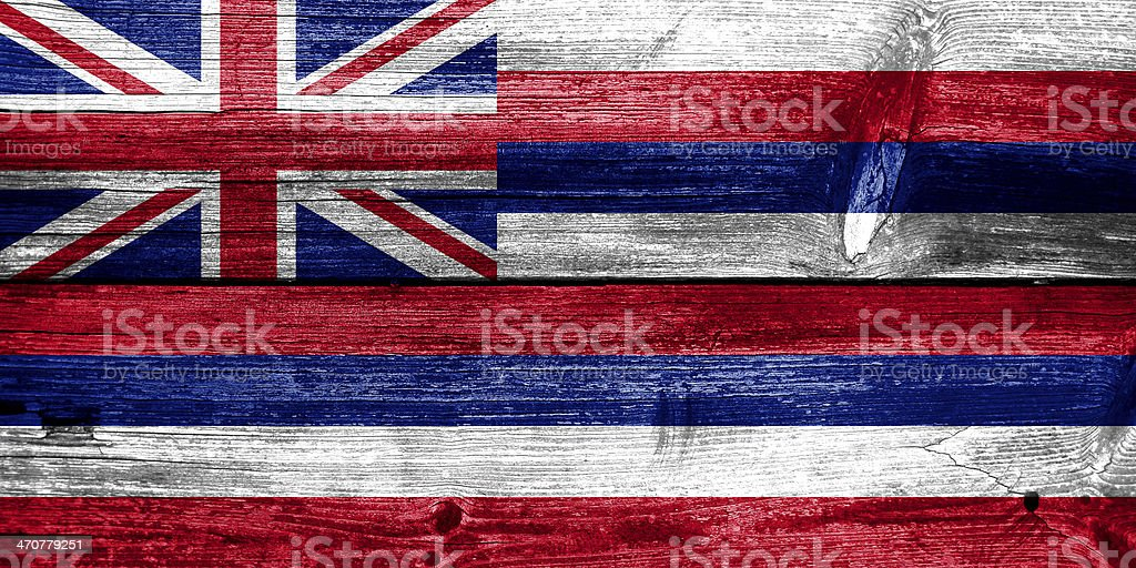 Hawaii Flag painted on old wood plank texture royalty-free stock photo