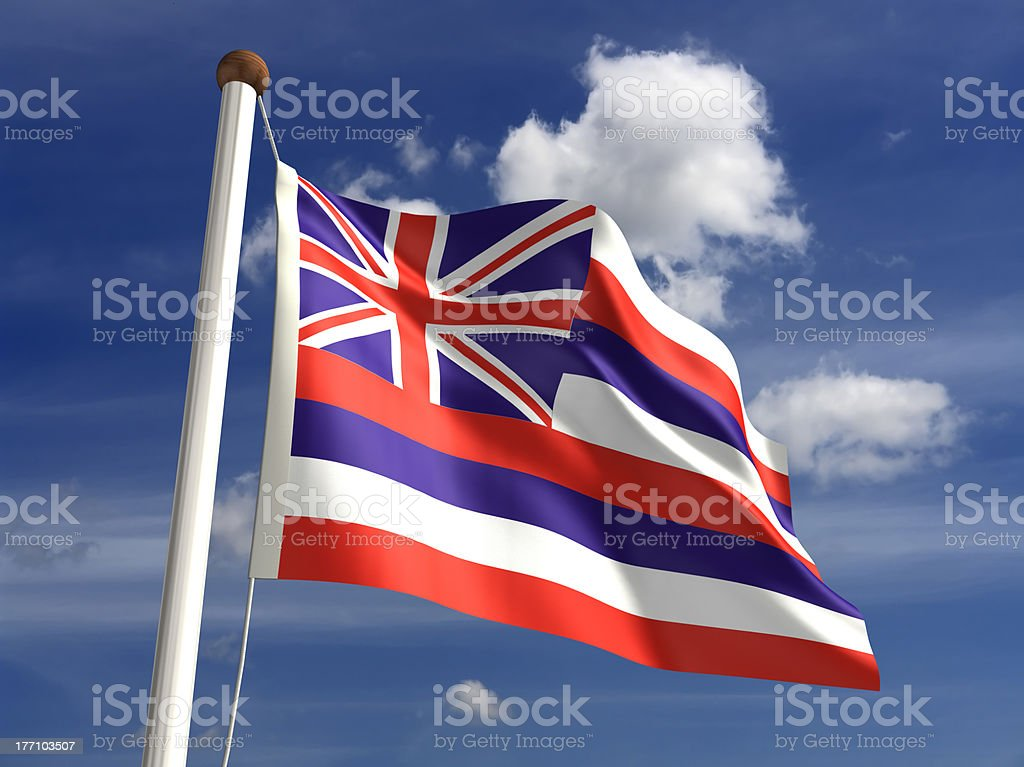Hawaii flag (with clipping path) stock photo