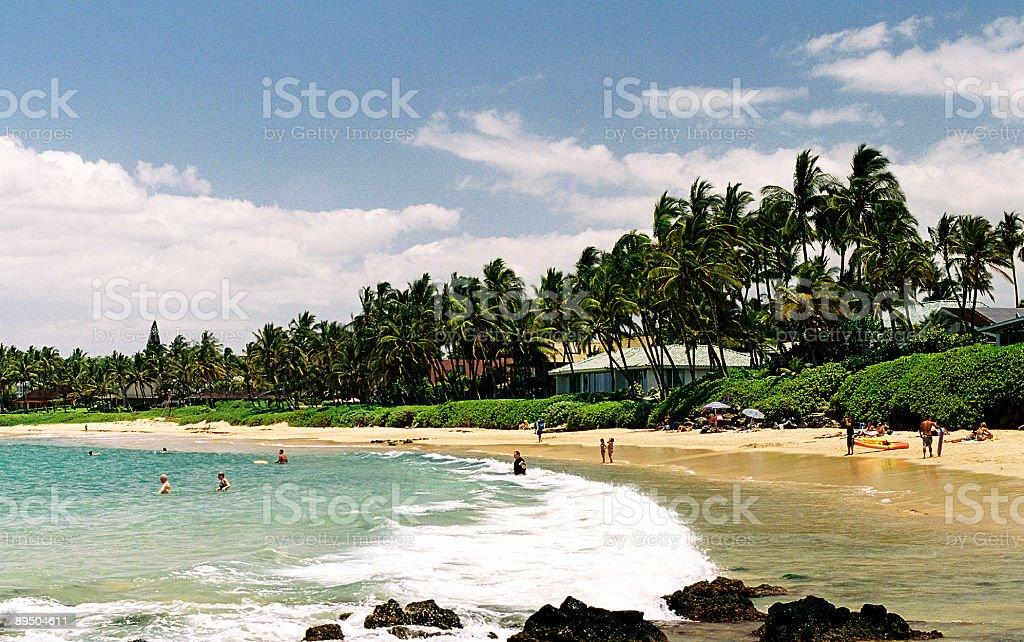 Hawaii hotel beach scene stock photo