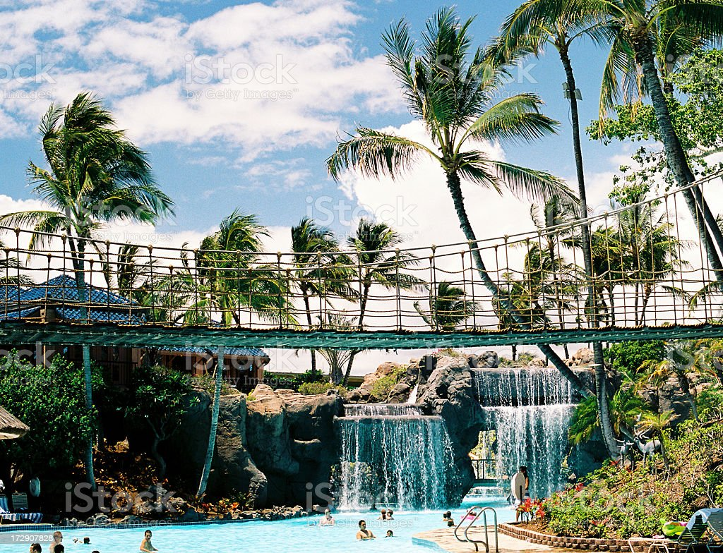 Hawaii hotel waterfall and swimming pool royalty-free stock photo
