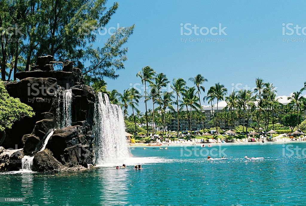 Hawaii hotel waterfall stock photo