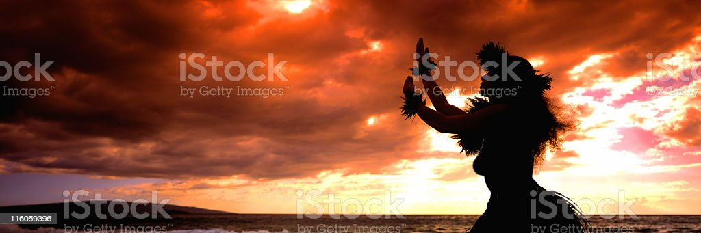 Hawaii Hula Dancer in Sunset stock photo