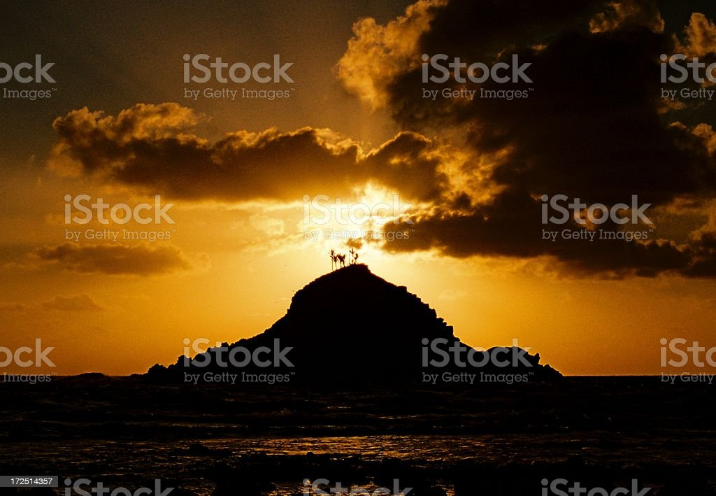 Hawaii island sunrise stock photo