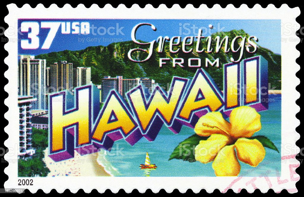 Hawaii islands stamp for a post card stock photo