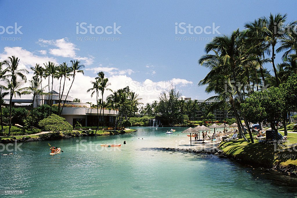 Hawaii lagoon scenic stock photo
