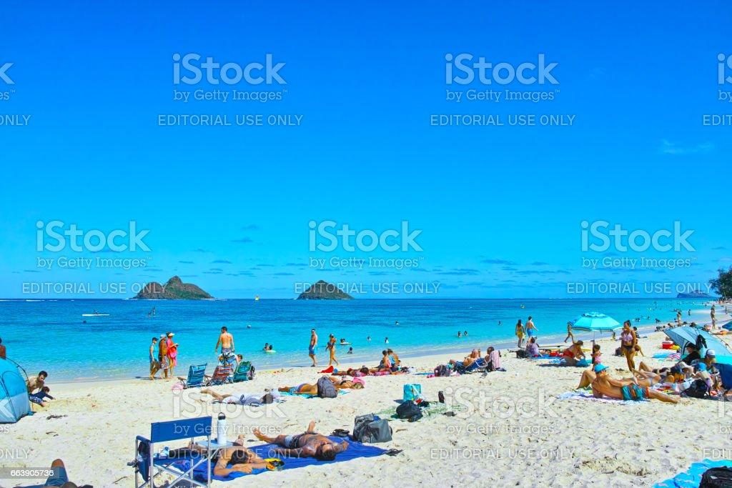 Hawaii Lanikai Beach stock photo