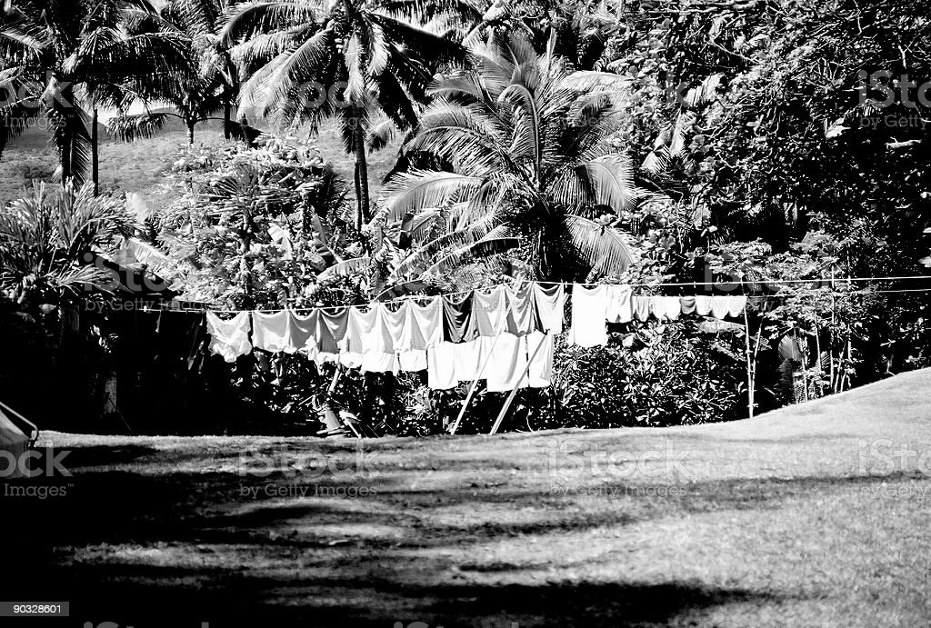 Hawaii laundry in black and white royalty-free stock photo