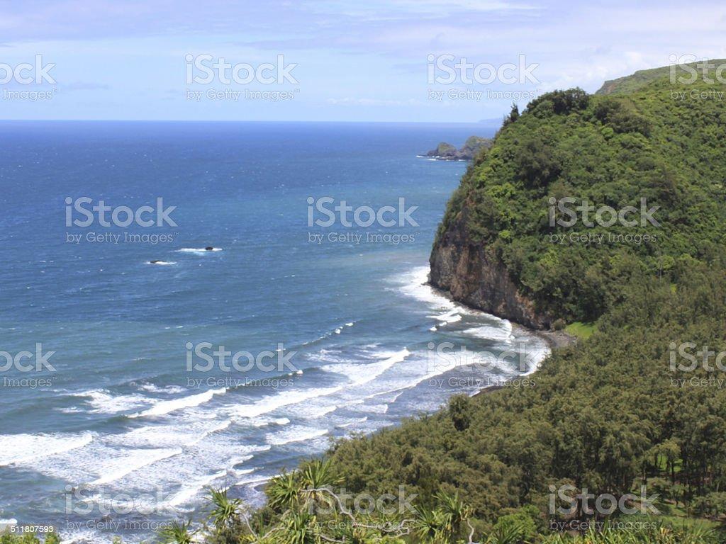 Hawaii Lookout onto Black Sand Beach stock photo