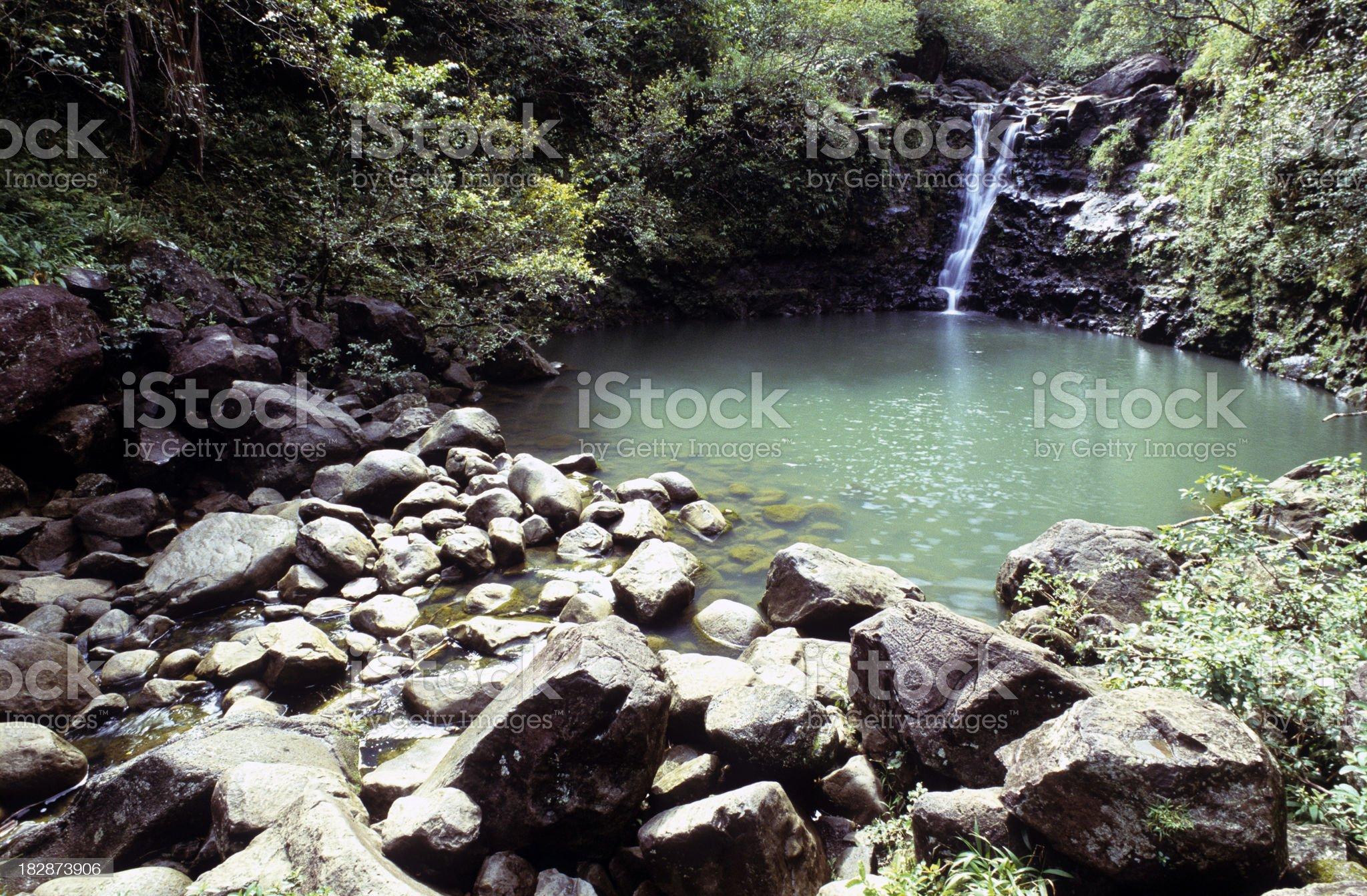 USA Hawaii Maui, waterfall on highway to Hana. royalty-free stock photo