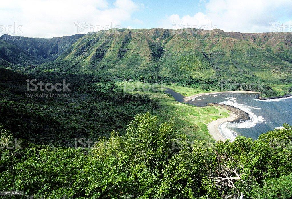USA Hawaii Molokai, Halawa Valley. stock photo