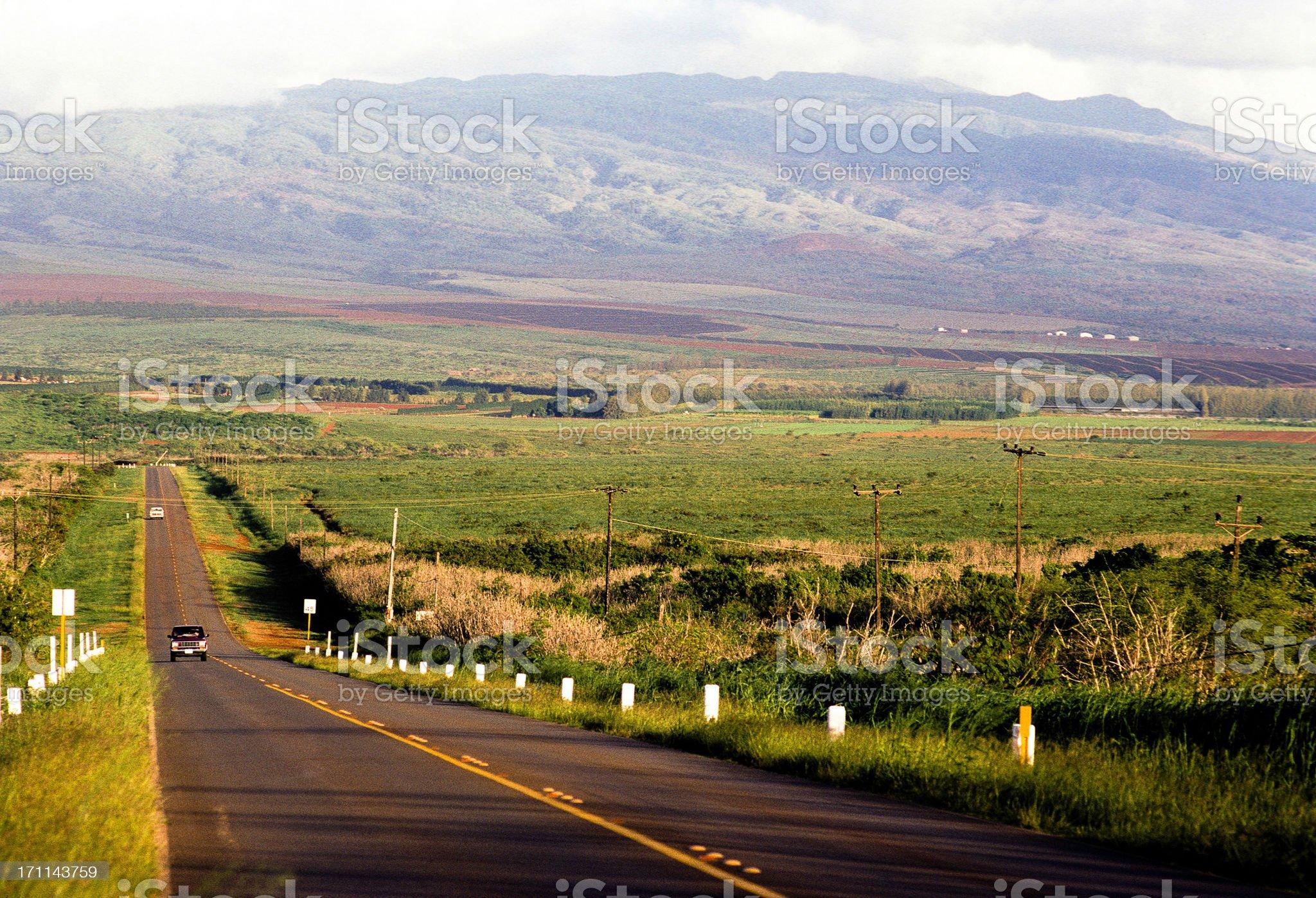 USA Hawaii Molokai, rural highway. royalty-free stock photo