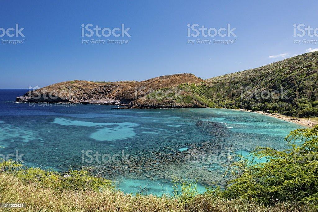 Hawaii Oahu island hanauma bay view stock photo