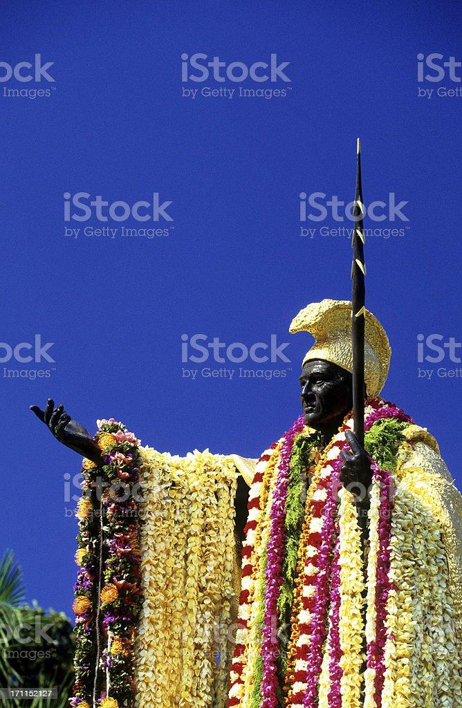 USA Hawaii O'ahu, King Kamehameha I, flower lei. royalty-free stock photo