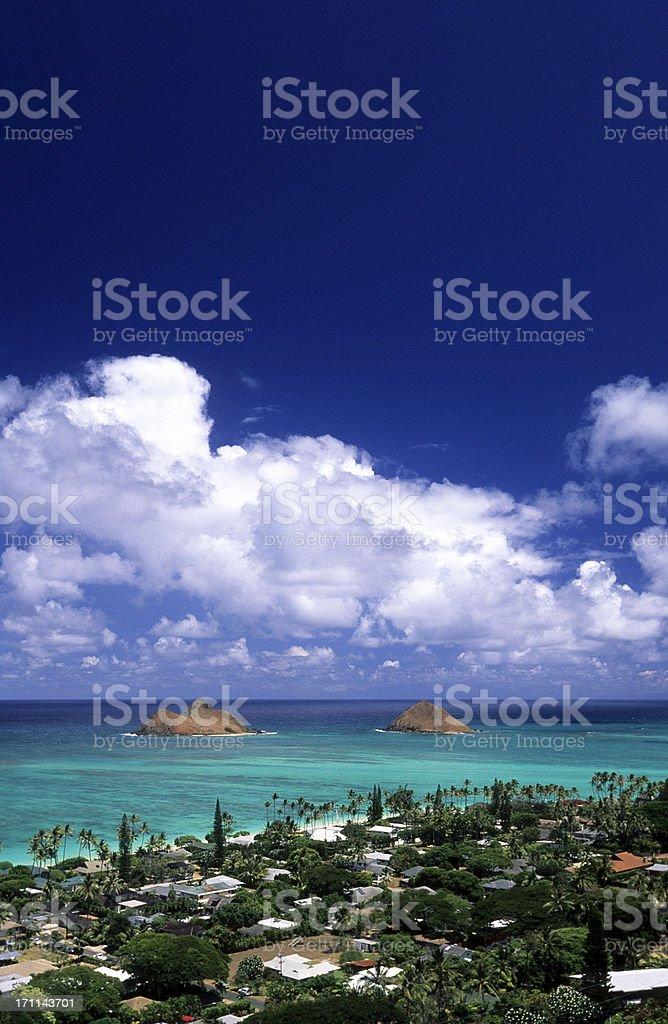 USA Hawaii O'ahu, Lanikai and the Moku Lua Islands. stock photo
