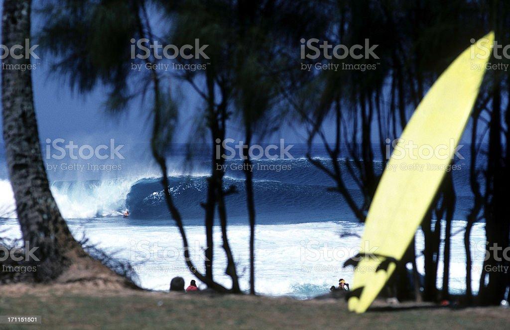 USA Hawaii O'ahu, North Shore, 'Ehukai Beach Park, surfing. stock photo