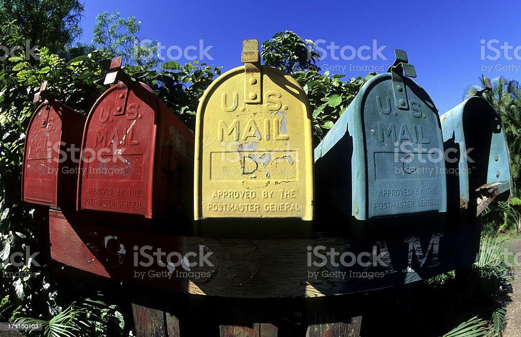 USA Hawaii O'ahu, North Shore, postboxes. royalty-free stock photo