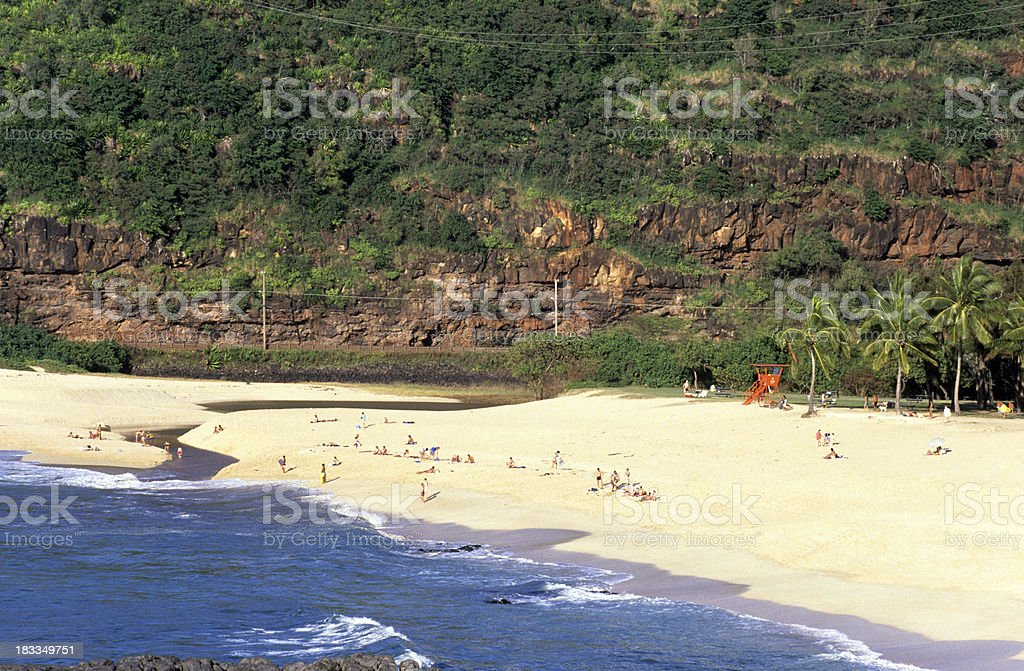USA Hawaii O'ahu, North Shore Waimea Bay. stock photo