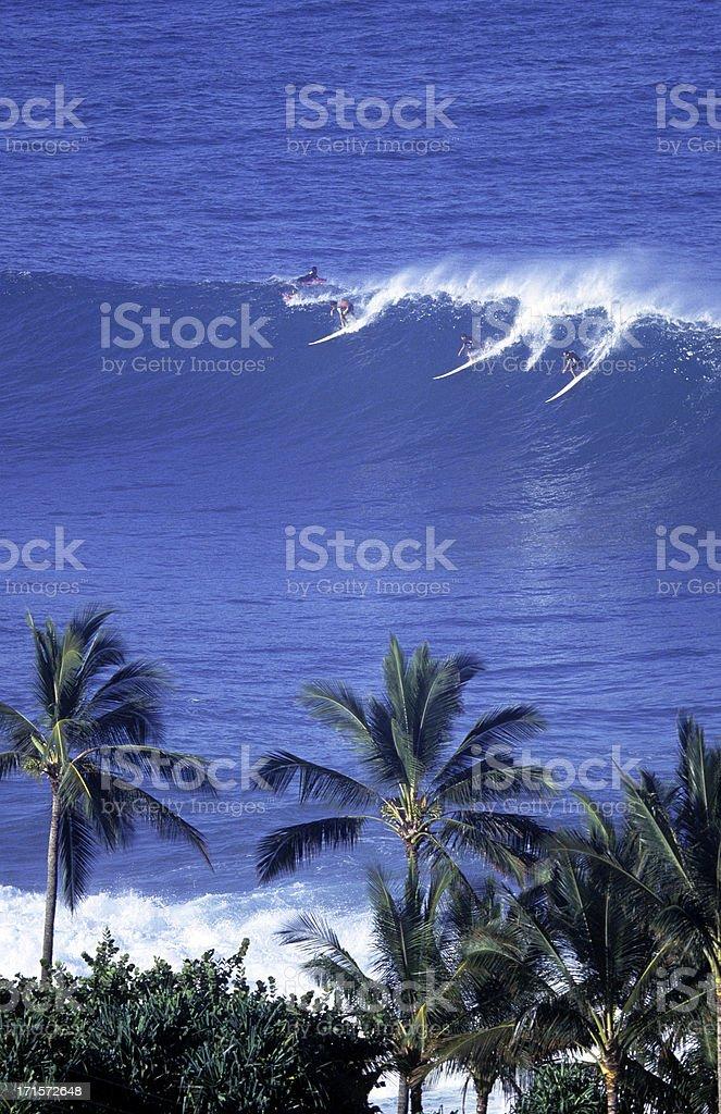 USA Hawaii O'ahu, North Shore, Waimea Bay, surfers. stock photo