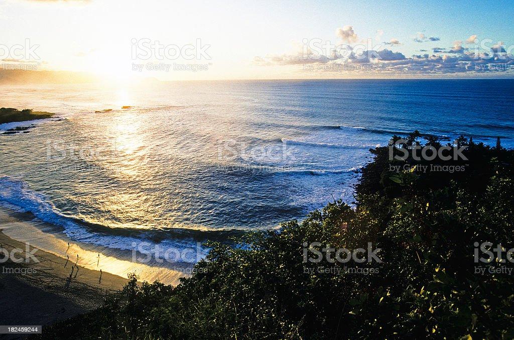 USA Hawaii O'ahu, Sunset at Waimea Bay. stock photo