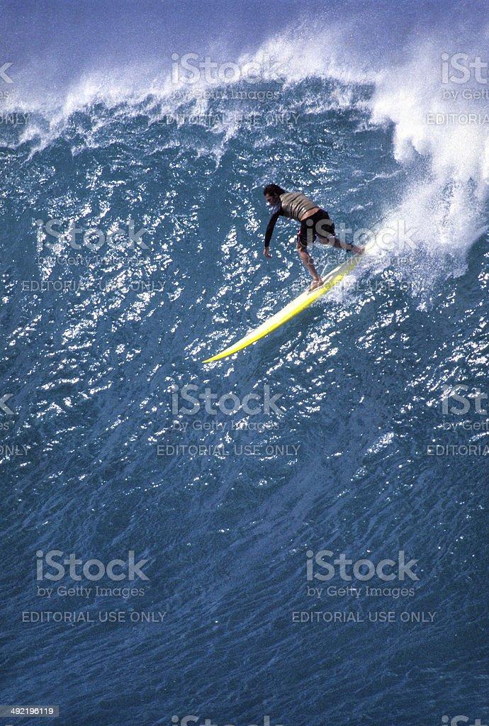 USA, Hawaii, Oahu, surfing at Waimea Bay. stock photo
