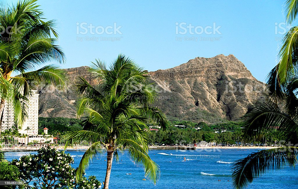 USA Hawaii O'ahu, Waikiki and Diamond Head. royalty-free stock photo