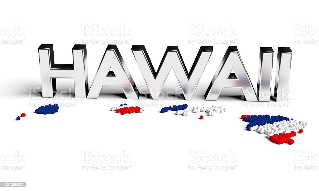 Hawaii silver text with map and flag stock photo