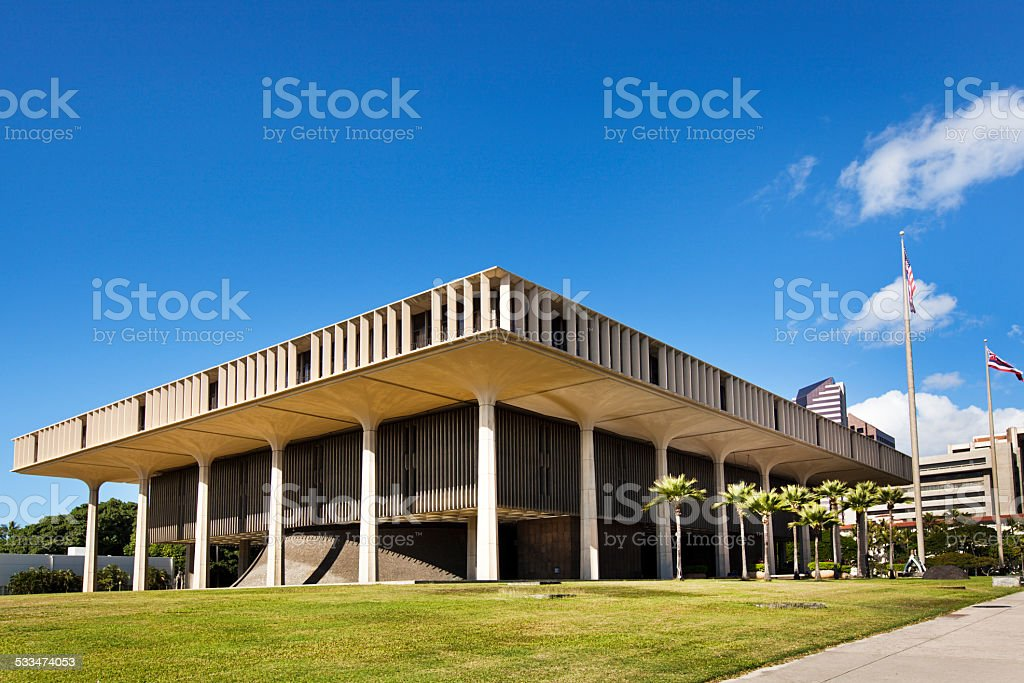 Hawaii State Capitol Building in Honolulu Oahu stock photo
