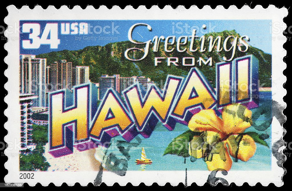 Hawaii State Postage Stamp 'Greetings From America' Retro Postcard Theme royalty-free stock photo