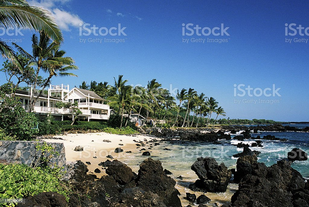 Hawaii style tropical mansion home house on Maui stock photo