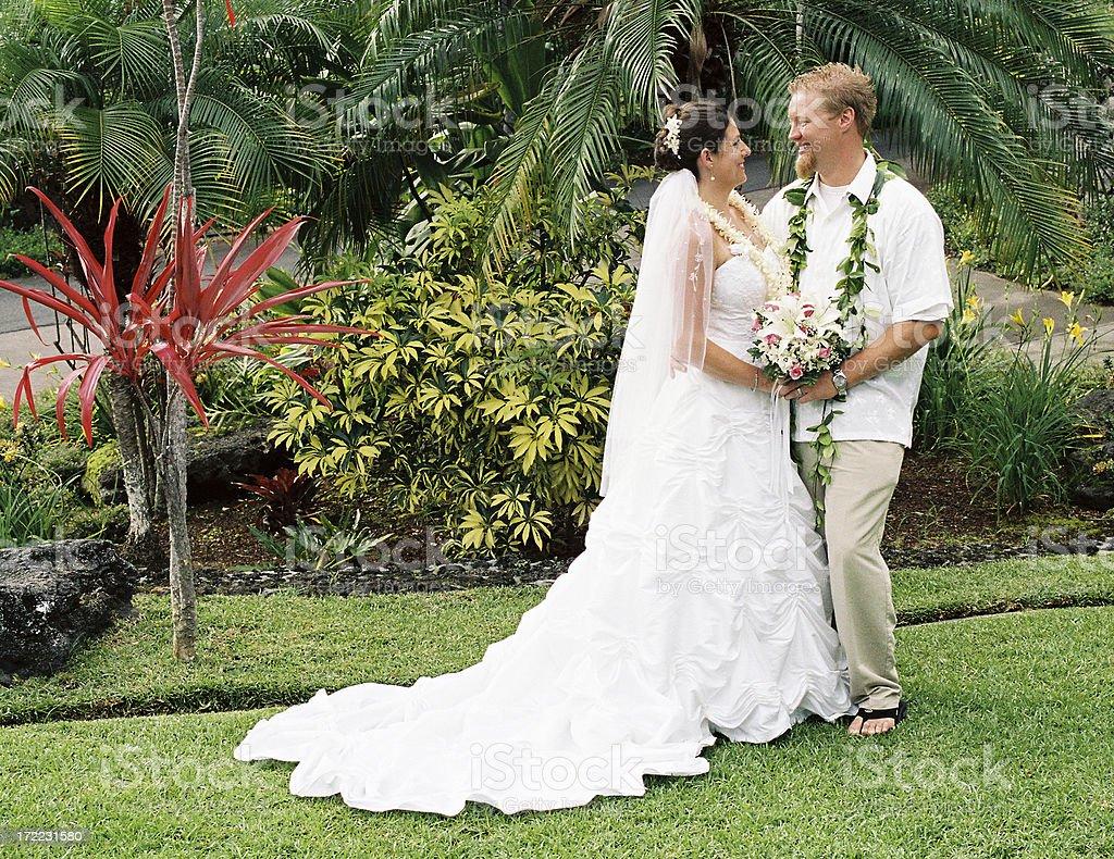 Hawaii style Wedding couple stock photo