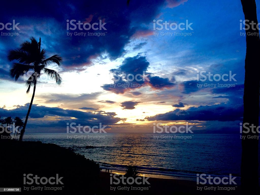 Hawaii Sunset stock photo