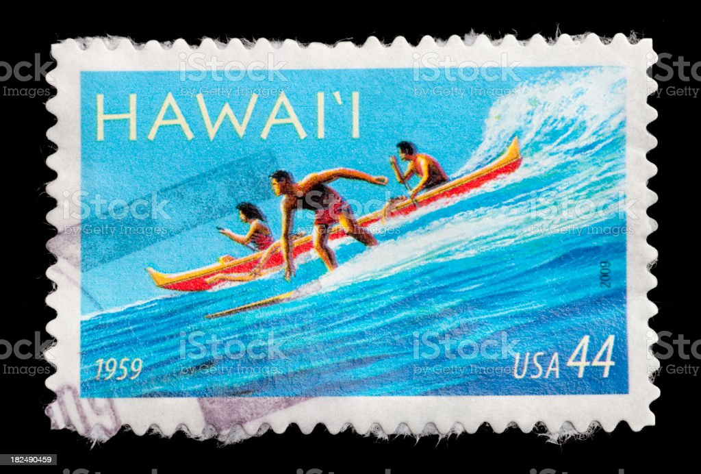 Hawaii Surfing Postage Stamp royalty-free stock photo