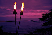 Hawaii Tiki Torches in at Sunset