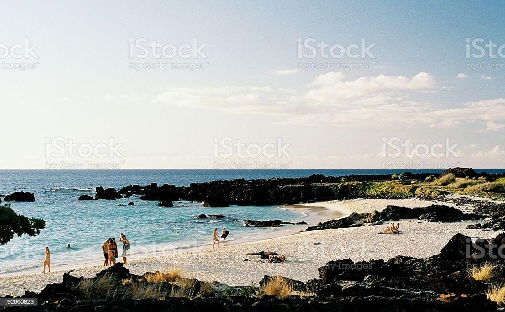 Hawaii tropical beach scene stock photo