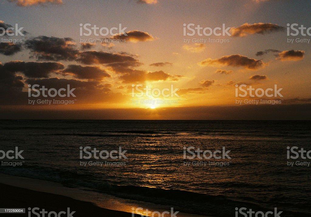 Hawaii Tropical island sunset stock photo