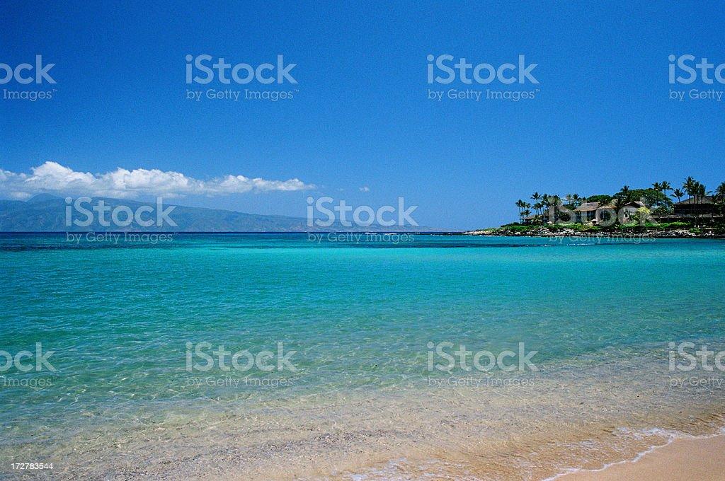Hawaii Tropical Pacific Ocean beach hotel scene stock photo