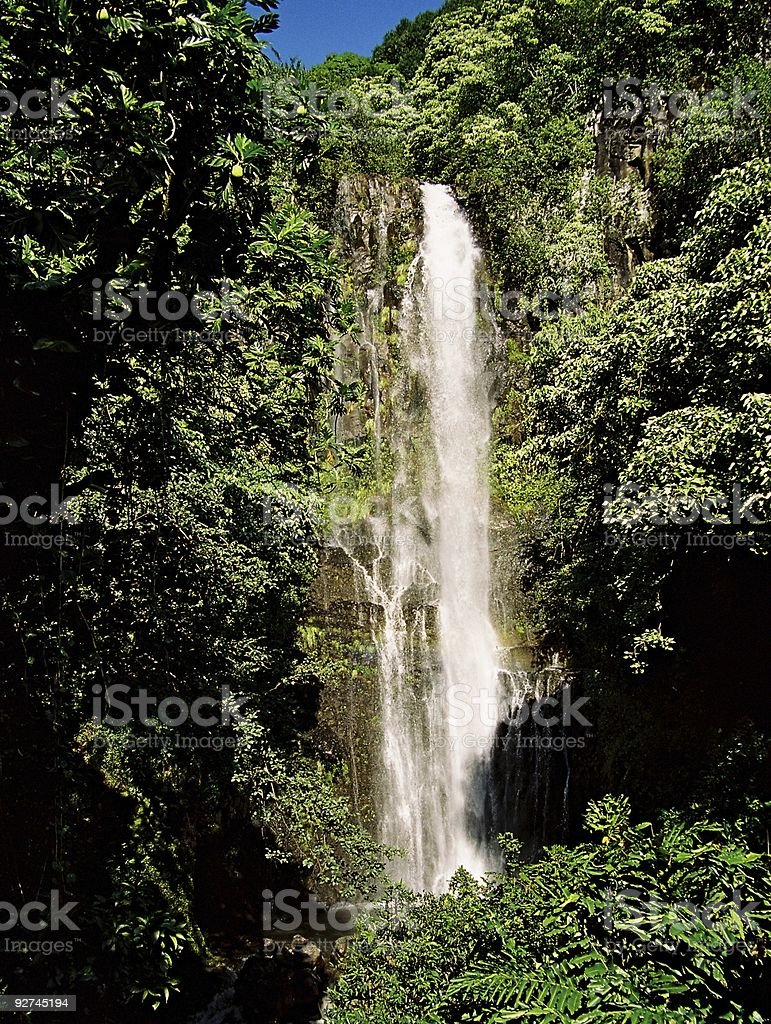 Hawaii Tropical waterfall stock photo