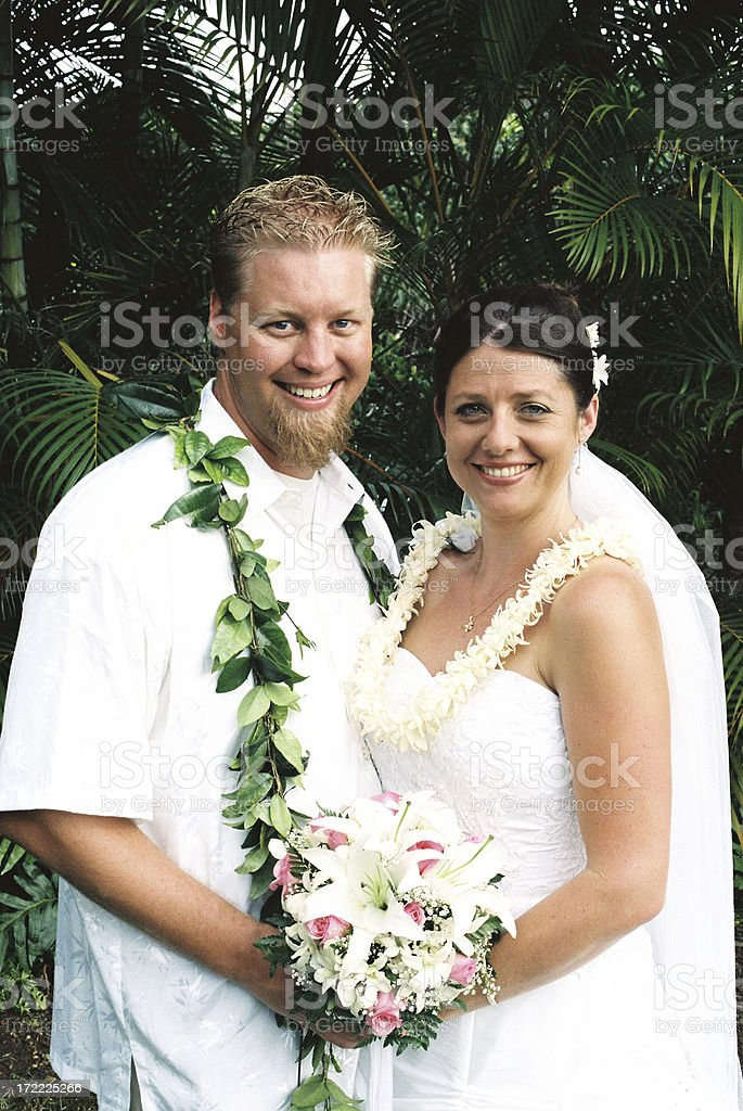 Hawaii Tropical wedding bride and groom royalty-free stock photo
