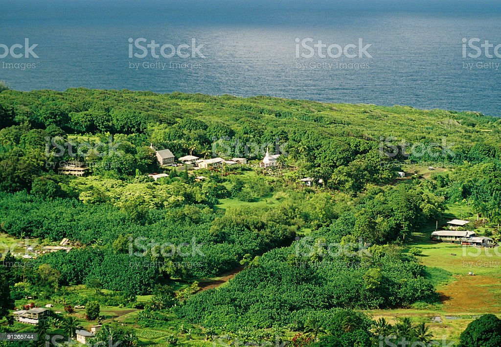 Hawaii village from above stock photo