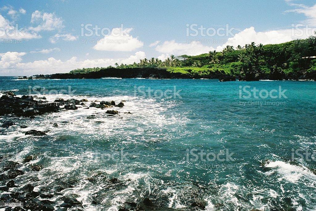 Hawaii Waianapanapa bay stock photo